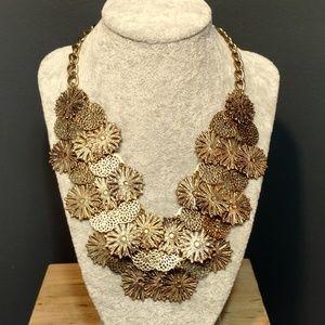 Laser cut metal floral necklace